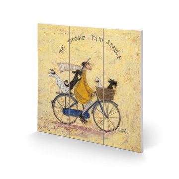 Sam Toft - The Doggie Taxi Service Small Wooden Wall Art