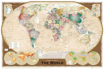 WORLD MAP - TRIPLE PROJECTION